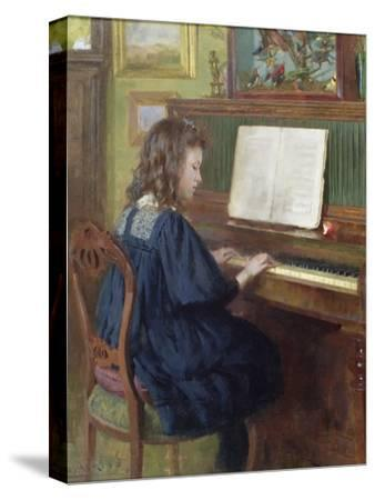 Playing the Piano-Ernest Higgins Rigg-Stretched Canvas Print
