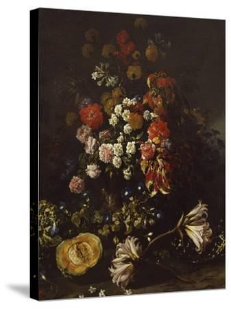 Flowers with Crystal Bowl-Paolo Porpora-Stretched Canvas Print