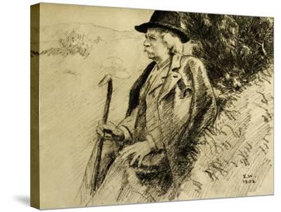 Portrait of Edvard Grieg in Countryside--Stretched Canvas Print