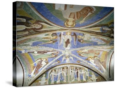 Frescoed Stone Cross--Stretched Canvas Print
