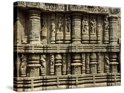 Relief from Hindu Sun Temple in Konarak--Stretched Canvas Print