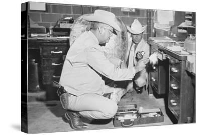 Texas Rangers Investigating a Crime Scene, C.1970--Stretched Canvas Print