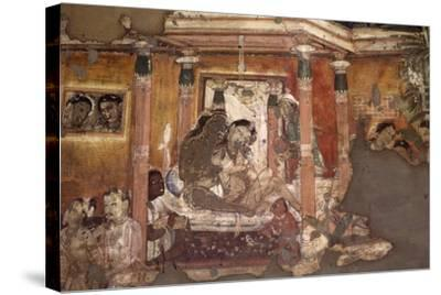 India, Fresco in Ajanta Caves--Stretched Canvas Print
