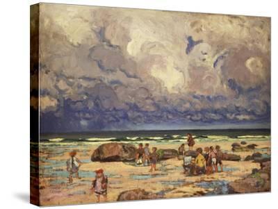 Children on the Beach, C.1910-William Samuel Horton-Stretched Canvas Print