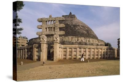 West Gate of the Stupa I in Sanchi--Stretched Canvas Print