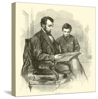Lincoln at Home, April 1865--Stretched Canvas Print
