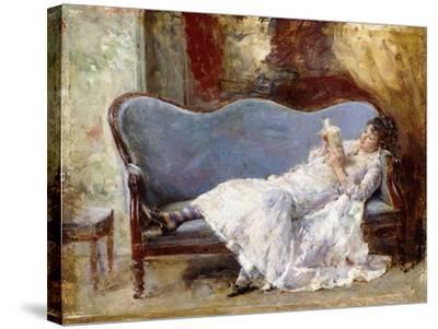A Lady Reading-Eduardo-leon Garrido-Stretched Canvas Print