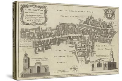 Map of Aldersgate Ward, City of London--Stretched Canvas Print