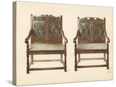 Oak Double Chairs-Shirley Charles Llewellyn Slocombe-Stretched Canvas Print