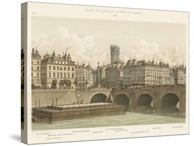 Place Du Chatelet Et Pont Au Change, 1830--Stretched Canvas Print