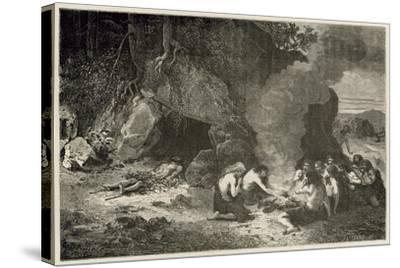 Un Repas Funeraire a L'Epoque Du Grand Ours Et Du Mammouth-Emile Antoine Bayard-Stretched Canvas Print