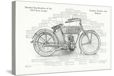 Detailed Specifications of the 1913 Sears Leader Auto-Cycle, 1913-American School-Stretched Canvas Print