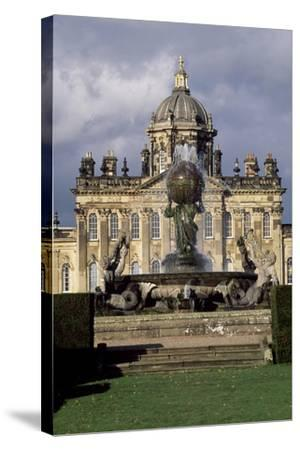 Atlas Fountain with Facade of Castle Howard in Background-John Thomas-Stretched Canvas Print