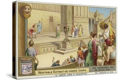Liebig Card Featuring a Representation of Ancient Greek Theatre--Stretched Canvas Print