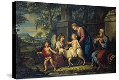 The Holy Family with St John the Baptist, Lattanzio Querena--Stretched Canvas Print
