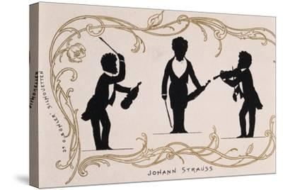 Silhouette in Black, Caricature of Johann Strauss--Stretched Canvas Print