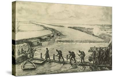 Troops of the Marines Getting into Position, Walking over the Yser--Stretched Canvas Print