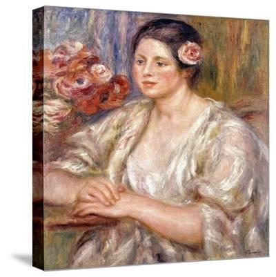 Madeleine in a White Blouse and Bouquet of Flowers, C.1915-1919-Pierre-Auguste Renoir-Stretched Canvas Print