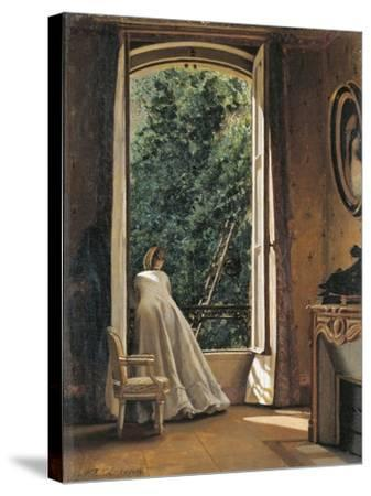 The Window Overlooking Apple Garden-Vito D'ancona-Stretched Canvas Print