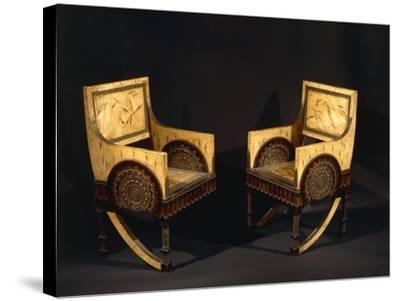Art Nouveau Style Armchairs, Ca 1902-Carlo Bugatti-Stretched Canvas Print
