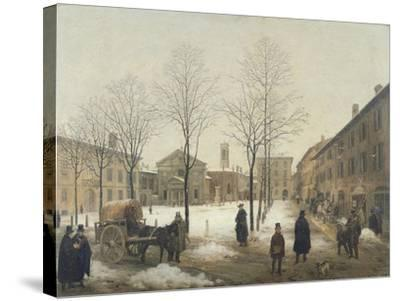 Milan, Piazza Borromeo under Snow-Angelo Inganni-Stretched Canvas Print