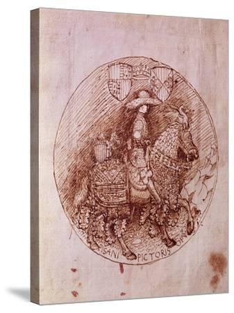Design of Alfonso of Aragon's Medal-Antonio Pisanello-Stretched Canvas Print