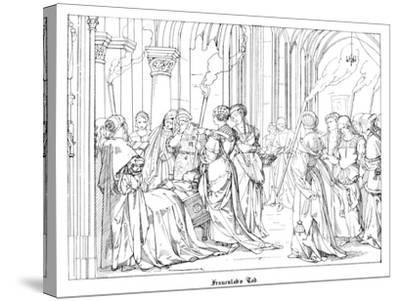 The Death of Henry of Meissen, Named Frauenlob-Alfred Rethel-Stretched Canvas Print