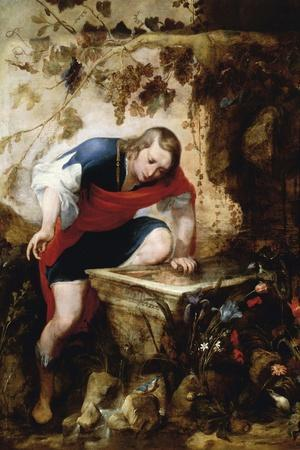 Narcissus Looking at His Reflection in a Fountain-Jan Roos-Stretched Canvas Print