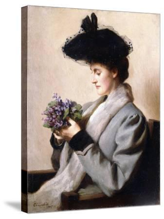 The Nosegay of Violets - Portrait of a Woman, 1905-William Worcester Churchill-Stretched Canvas Print
