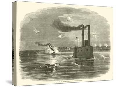 The Lancaster and Switzerland Running the Vicksburg Batteries, March 1863--Stretched Canvas Print
