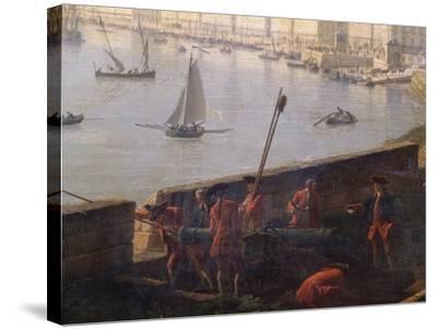 Artillery Post in Bordeaux Port, 1759-Claude Joseph Vernet-Stretched Canvas Print