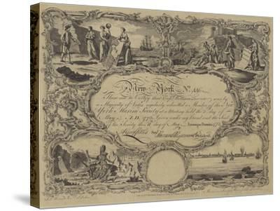Membership Certificate of the New York Marine Society, 1773--Stretched Canvas Print