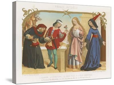 Money Lender, Squire, a Young Woman and an Old Woman--Stretched Canvas Print