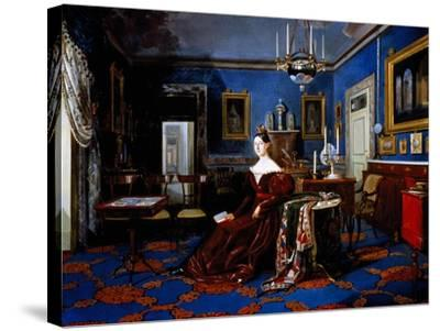 Portrait of Maria Cristina of Savoy in Palace of Caserta--Stretched Canvas Print