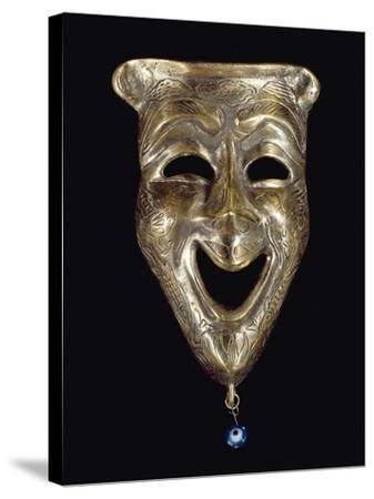 Smiling Mask with Incised Decoration and Attached Glass Eye--Stretched Canvas Print