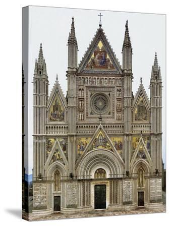 Digital Reconstruction of Facade of Orvieto Cathedral--Stretched Canvas Print