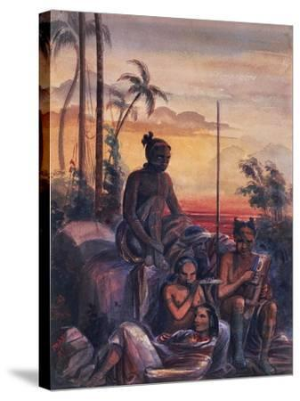 Inhabitants of Marquesas Islands, Watercolour by Maximilien Radiguet--Stretched Canvas Print