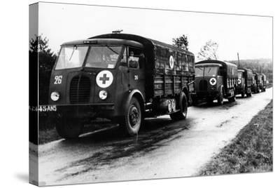 French Red Cross Trucks Carrying Aid for Prisoners of War, C. 1939-45--Stretched Canvas Print