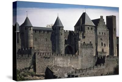 Double Boundary Wall of the Fortified Town, Carcassonne--Stretched Canvas Print