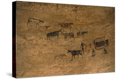 Scene of Daily Life with Livestock, Rock Art, Tassili N'Ajjer--Stretched Canvas Print