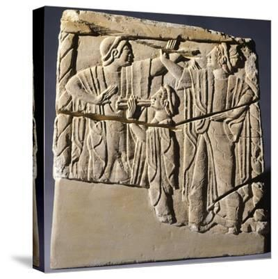 Cinerary Urn with Dancers and Performers, Artifact from Chiusi--Stretched Canvas Print