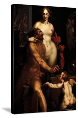Venus in the Forge of Vulcan, Jupiter and Antiope-Bartholomaeus Spranger-Stretched Canvas Print