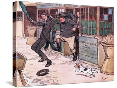 It Was a Beautiful and Exhilerating Sight to See the Red Nose Man Writhing in Mr Wellers Grasp-Cecil Aldin-Stretched Canvas Print