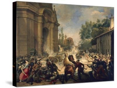 Bologna, Expulsion of Austrians from Porta Galliera, August 8, 1848-Antonio Muzzi-Stretched Canvas Print