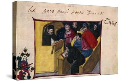 The Writer in the Pulpit with Six Disciples, Miniature from the Summa Casuum Conscientiae-Bartolomeo Da San Concordio-Stretched Canvas Print