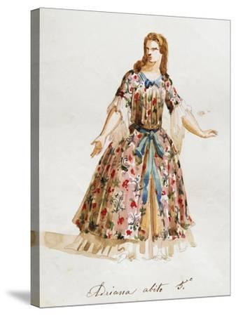 Costume Sketch for Role of Adriana in Opera Adriana Lecouvreur, 1899-1902-Francesco Cilea-Stretched Canvas Print