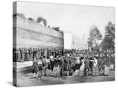 Recreation of the Massacre of 62 Hostages on the Rue Haxo, Belleville, Paris, 1871-Eugene Appert-Stretched Canvas Print