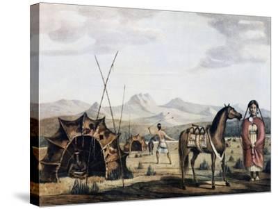 Indigenous Campsite in Sierra De La Ventana, 1830-Charles Henry Pellegrini-Stretched Canvas Print