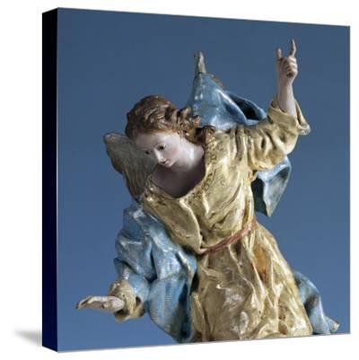Angel Visiting Saint Joseph in Dream, Painted Terracotta Nativity Figurine-Francisco Salzillo Y Alcazar-Stretched Canvas Print