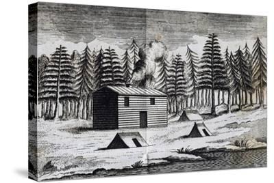 Wooden Hut on Shore of Hudson Bay-Henry Ellis-Stretched Canvas Print